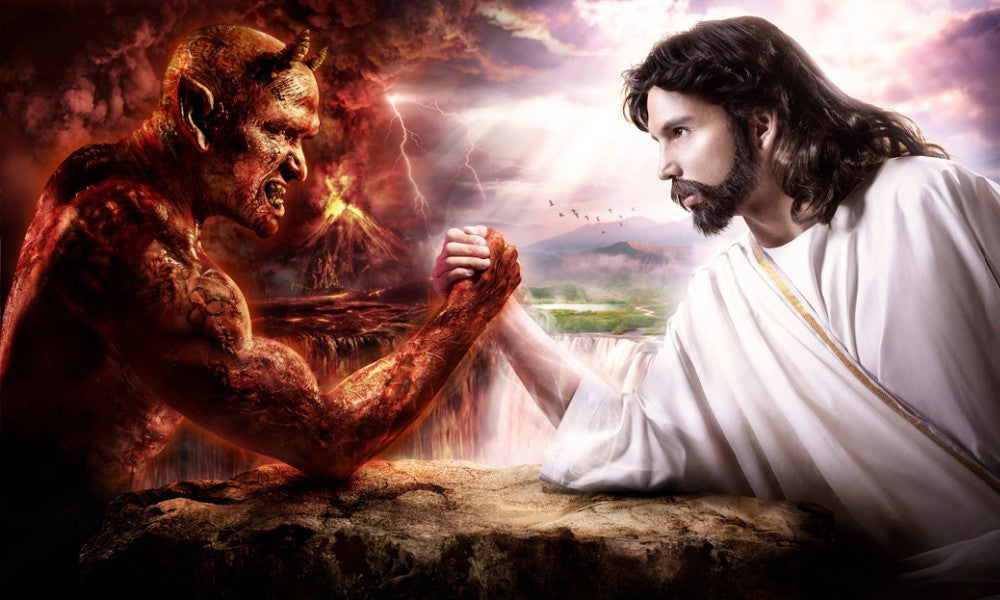"""Jesus vs the Devil"" Silk Wall Print"