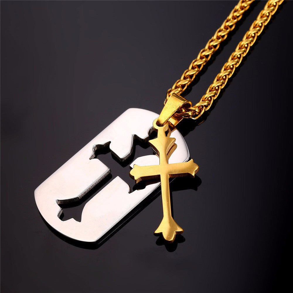 Latin Cross Tag Necklace