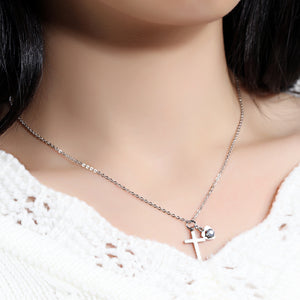 Petite Cross and Heart Necklace for Her