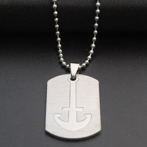 Anchor Cross Dog Tag Necklace