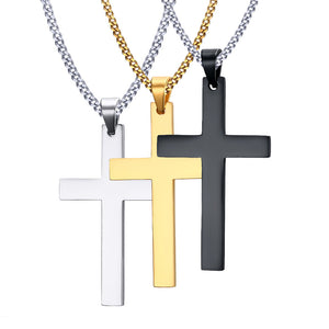 titanium and stainless steel cross necklace