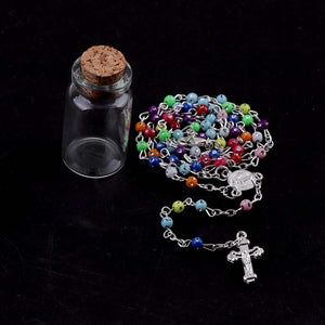 Colorful Rosary Beads in a Wishing Bottle