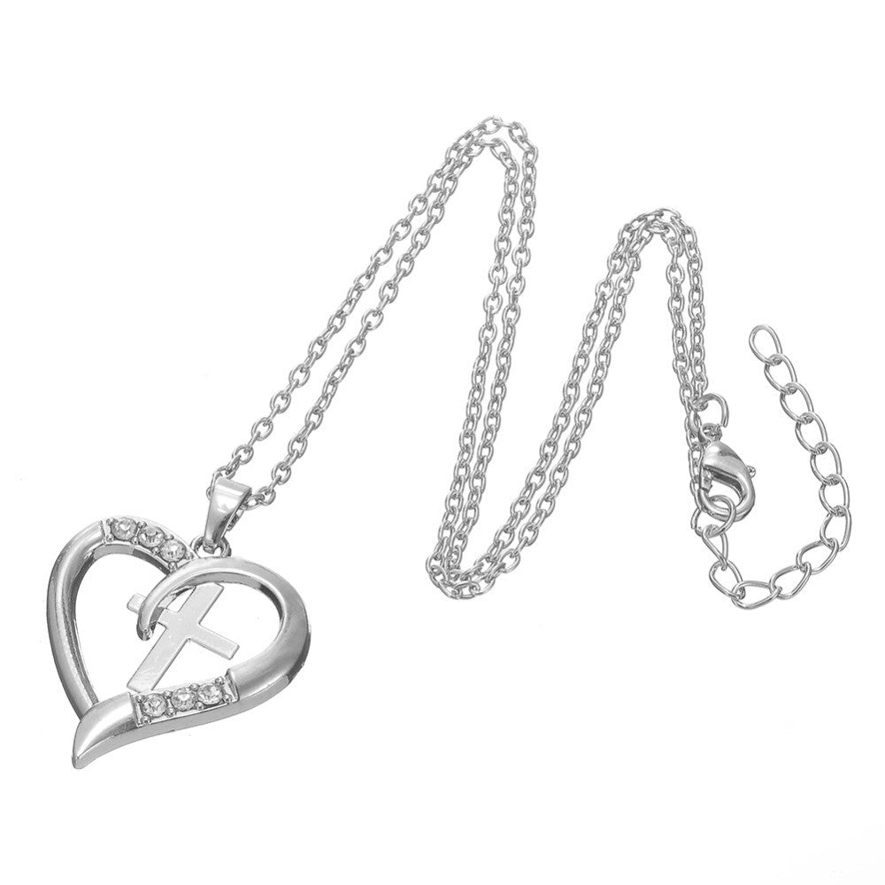 Petite Heart Necklace Enframing Christian Cross