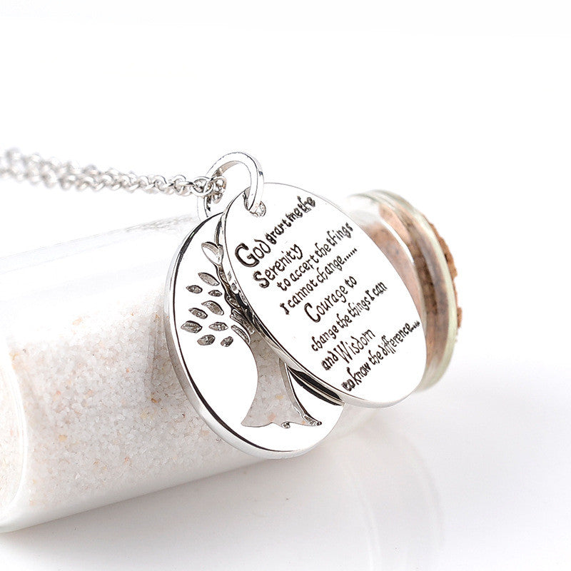 Tree Of Life and Serenity Prayer Necklace