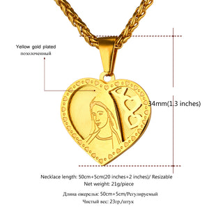 Virgin Mary Heart Necklace