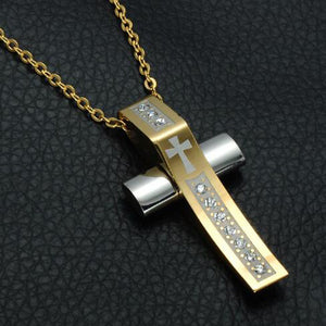 Curved Golden Cross Necklace