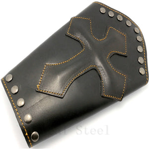 Huge Genuine Leather Cross Wristband