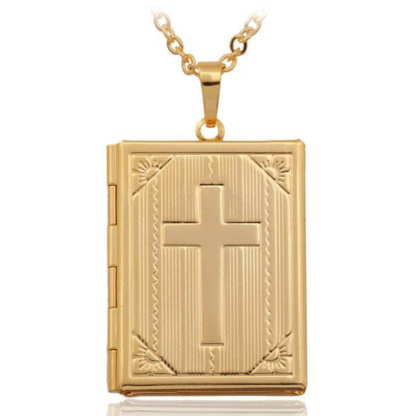 Bible Locket Necklace Gold