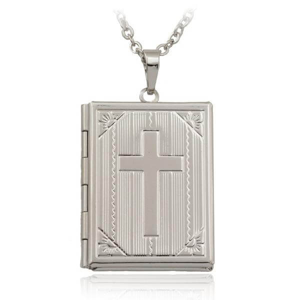 Bible Locket Necklace Silver