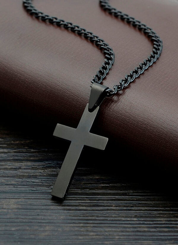 Black Plated Titanium Cross Necklace