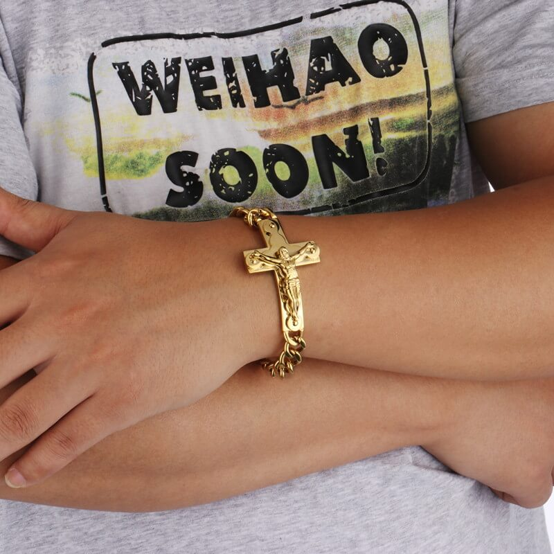Cuban Chain Crucifix Bracelet