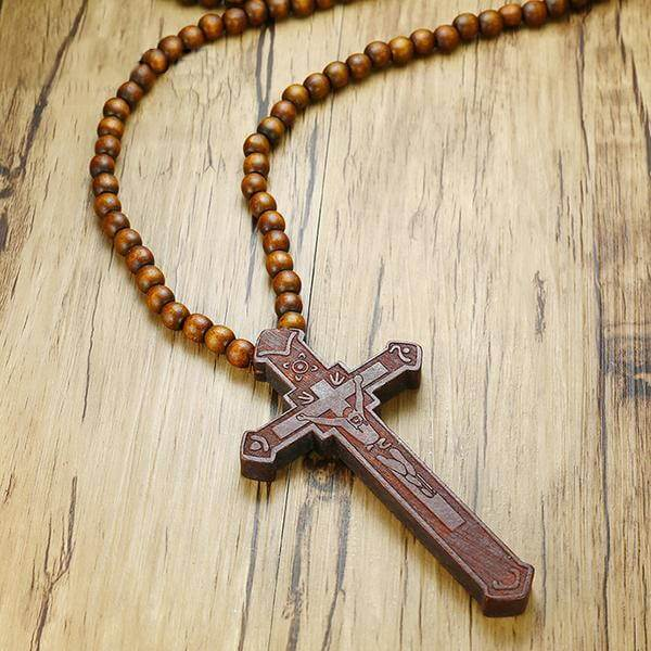 Large Wooden Catholic Cross Necklace Brown