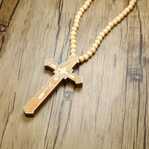 Large Wooden Catholic Cross Necklace Light Brown