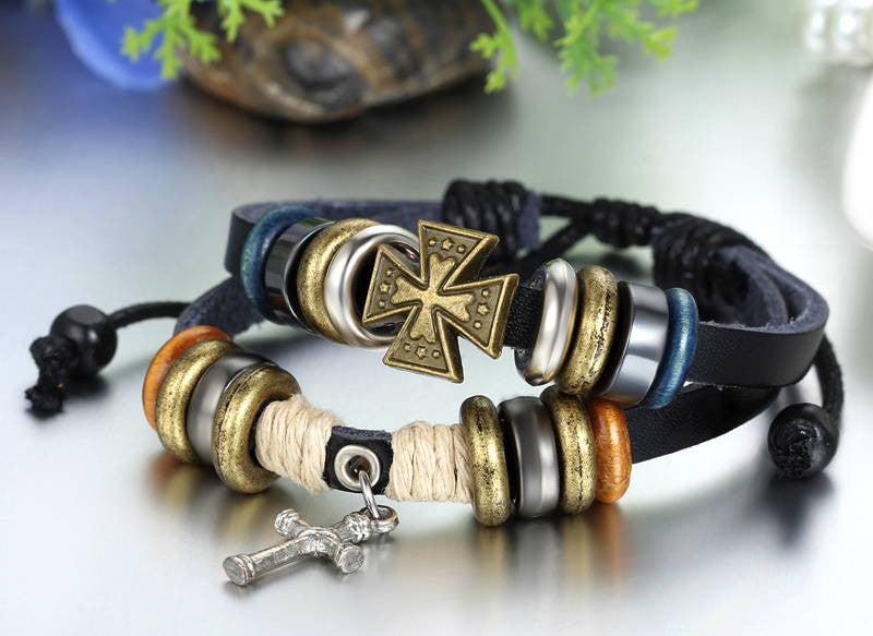 Leather Cross Bracelet with Beautiful Beads