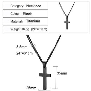 Black Plated Titanium Cross Necklace Size Chart