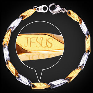 Two Toned Stainless Steel Jesus Bracelet and Necklace