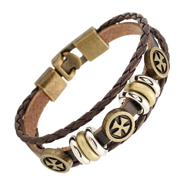 Trendy Leather Beaded Cross Bracelet