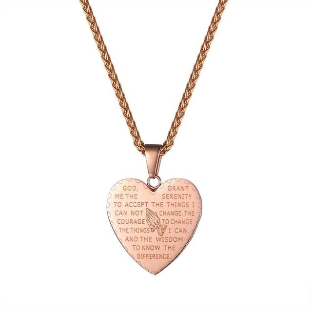Double Prayer Medal or Heart Necklace