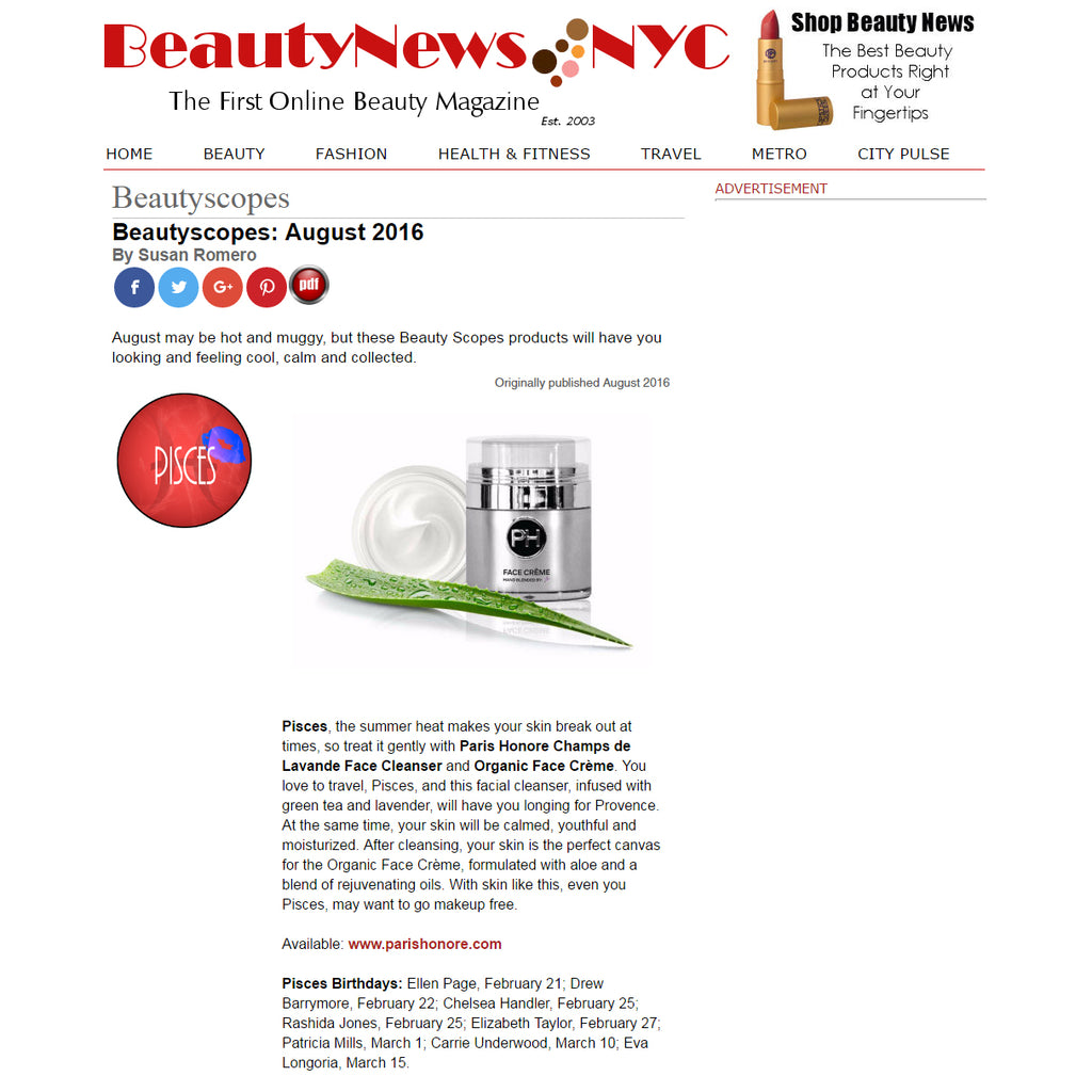 Beauty News NYC Recommends PARIS HONORÉ's FACE CLEANSER and Organic FACE CRÈME