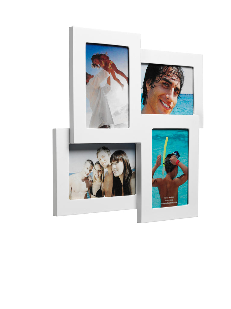 "photo frame for 4 4""x6"" photos white"