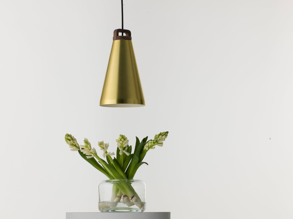 Handle brass pendant lamp with wood handle
