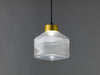 Pharos pressed clear glass pendant lamp brass cap