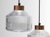 Pharos fresnel inspired glass pendant lamp copper cap