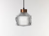 Pharos pressed glass pendant lamp copper cap