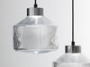 Pharos pressed glass pendant lamp silver cap