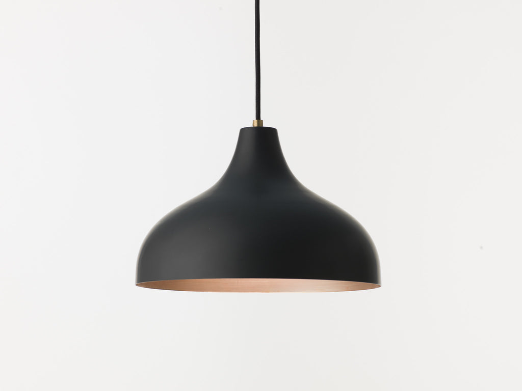 Vienna 30 raw copper and black pendant lamp