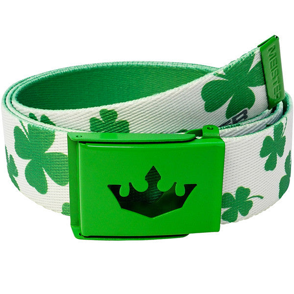 Meister Player Golf Web Belt - Lucky Clovers