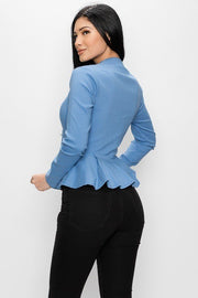 Long Sleeve Ruffle Zip-up Top Deep Neckline Silhouette Shaping - Tigbul's Variety Fashion Shop