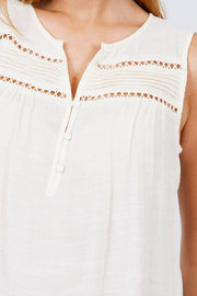 Sleeveless Front Pleats Detail W/button Woven Top - Tigbul's Variety Fashion Shop