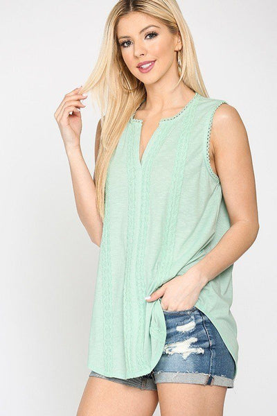 Sleeveless Lace Trim Tunic Top With Scoop Hem - Tigbuls