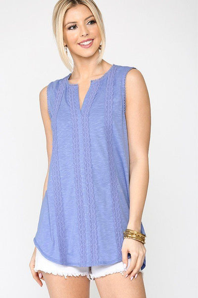 Blue Sleeveless Lace Trim Tunic Top With Scoop Hem - Tigbuls