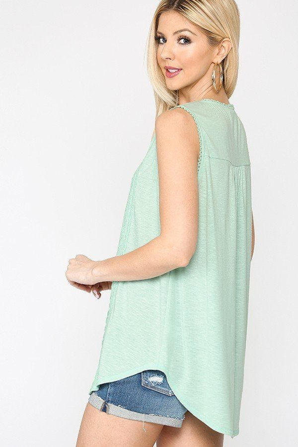 Sleeveless Lace Trim Tunic Top With Scoop Hem - Tigbul's Variety Fashion Shop