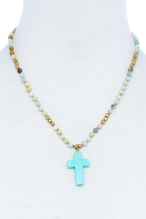Chic Beaded And Cross Pendant Necklace - Tigbul's Variety Fashion Shop