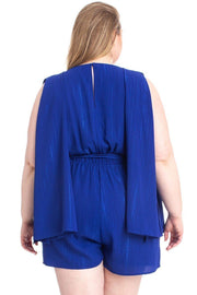 Shimmer Fabric Draped Open Sleeve Romper - Tigbul's Variety Fashion Shop