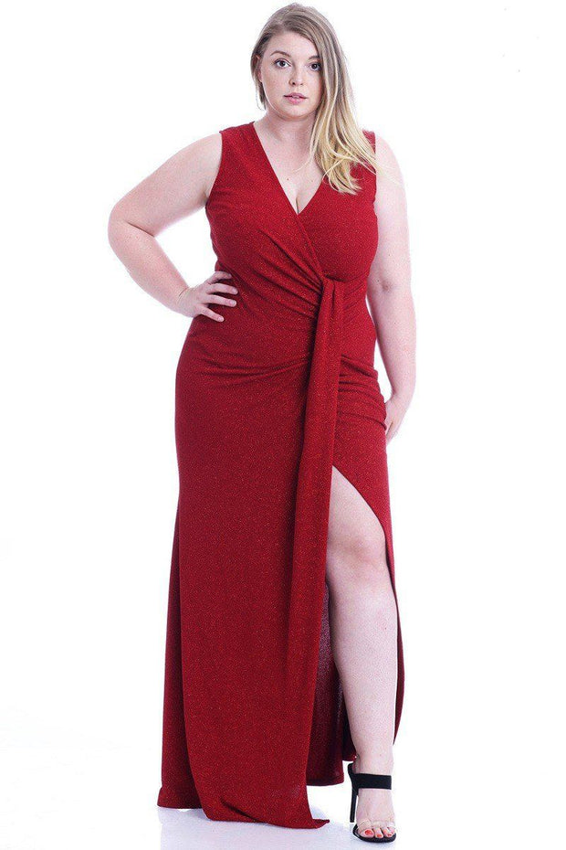 Women's Plus Size Dark Red Stretch Glitter Maxi Dress - Tigbul's Variety Fashion Shop