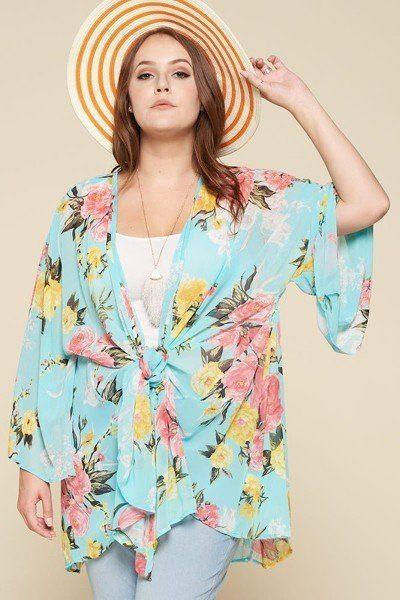 Plus Size Floral Printed Oversize Kimono With Bell Sleeves, Mint - Tigbul's Variety Fashion Shop