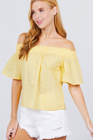 Short Sleeve Off The Shoulder Eyelet Woven Top - Tigbul's Variety