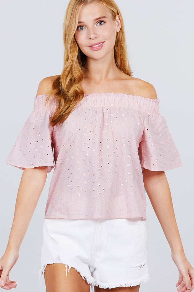 Short Sleeve Off The Shoulder Eyelet Woven Top - Tigbul's Variety Fashion Shop