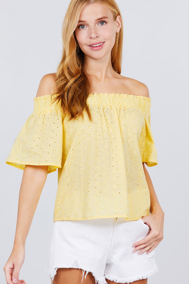 Short Sleeve Off The Shoulder Eyelet Woven Top - Tigbuls