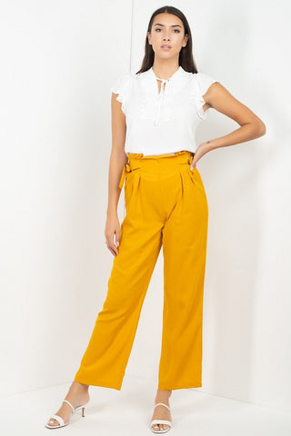 Women's Mustard High Waist Paperbag Wide Pants - Tigbul's Variety Fashion