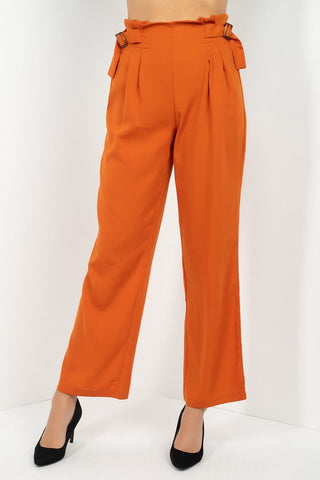 High Waist Paperbag Wide Leg Pants, Rust Color - Tigbul's Variety Fashion