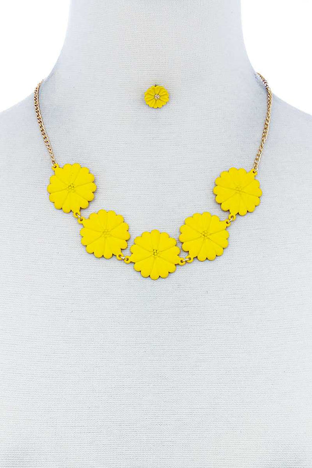 Fashion Cute Multi Tender Flower Necklace And Earring Set - Tigbuls