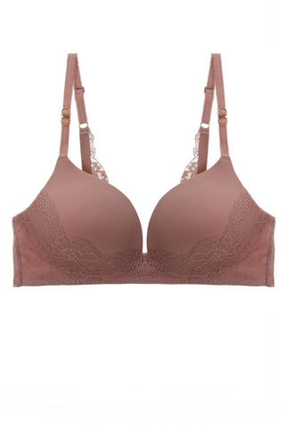 Women's Rose Color Solid Lace Demi Bra - Tigbul's Variety