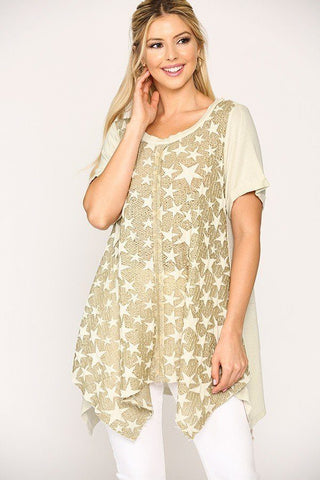 Star Textured Knit Mixed Tunic Top With Shark Bite Hem - Tigbul's Variety