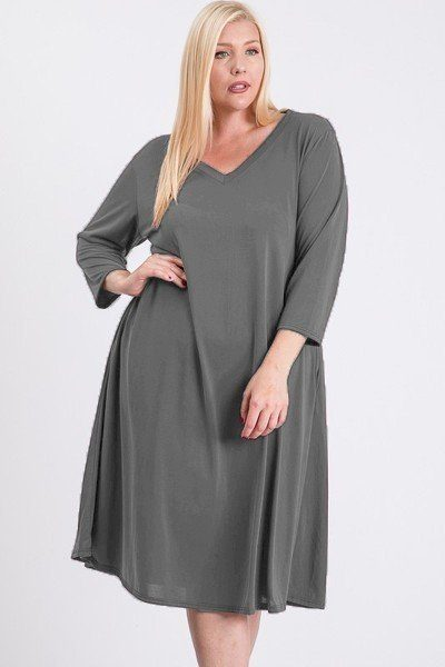 V Neck Hidden Pocket Swing Dress - Tigbul's Variety Fashion Shop
