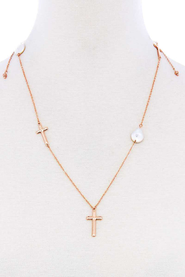 Triple Cross And Pearl Pendant Endless Necklace - Tigbul's Variety Fashion Shop
